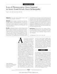 loss of photoreceptor outer segment in acute zonal occult outer