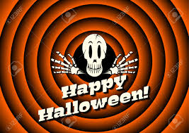 skeleton halloween background halloween card with skeleton and movie ending background royalty