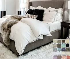 white linen duvet cover with piping white gray blue pink