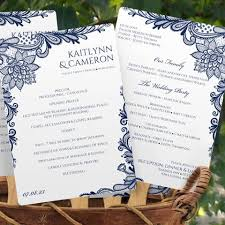 Wedding Program Paddle Fan Template Ornate Lace Navy Program Fan Template Instant Download