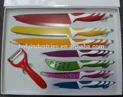 8pcs non stick color kitchen knife set in gift box multicolor