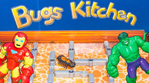 hexbug bugs in the kitchen game ironman and incredible hulk plays