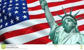 Flag Im Freiheitsstatue Von Amerikanischen Usa Mit Wellenartig Bewegender