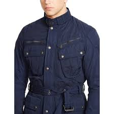 jacket moto polo ralph lauren belted moto jacket in blue for men lyst