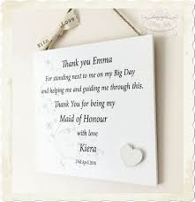 thank you bridesmaid cards thank you wedding personalised moh bridesmaid plaque wooden sign