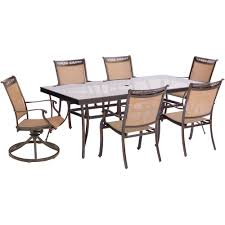 Aluminum Dining Room Chairs Hanover Fontana 7 Piece Aluminum Outdoor Dining Set With