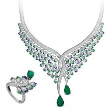 sapphire emerald necklace images Emerald sapphire and diamond necklace and ring set avakian jpg