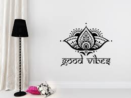 Moroccan Wall Decal by Good Vibes Wall Decal Yoga Studio Lotus Flower Decals Vinyl