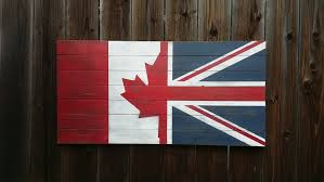 Half Wood Wall by Half Canada Half U K Vintage Style Wall Art Flag On Wood