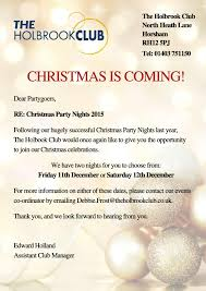christmas parties at the holbrook club