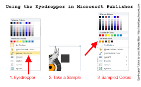 how to use the eyedropper tool in ms publisher