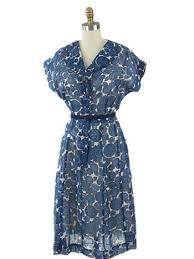 50 u0027s semi sheer blue floral shirtwaist dress authentic 1950s