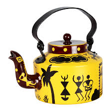 Warli Art Simple Designs Offbeat And Hand Painted This Kettle Is Adorned Using Warli Art