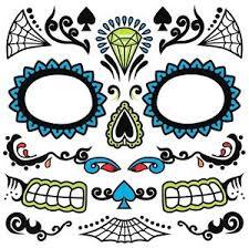 dia de los muertos day of dead sugar skull temporary