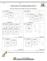 First Grade Math Worksheets Free Place Value Worksheet Numbers To 200