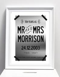 10th year wedding anniversary 10 year wedding anniversary print with your name and date