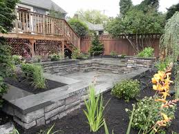 garden small backyard ideas feature stacked natural stone