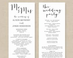 wedding program templates wedding program template printable wedding program diy
