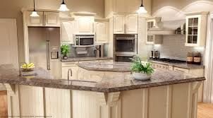 kitchen style white cabinets brick floors black granite