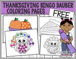 thanksgiving bingo dauber coloring pages free printable