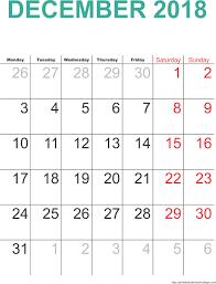 december 2018 calendar with holidays calendar 2017 printable