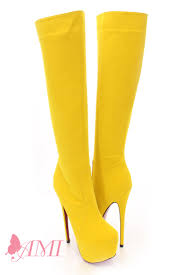 womens boots yellow faux suede knee high platform boots amiclubwear boots catalog