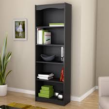 Black Book Shelves by Contemporary Black Bookcase With 5 Shelves And Curved Accents