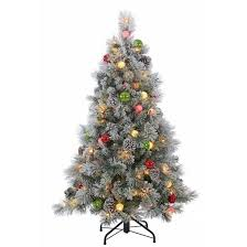 4 5ft pre lit led artificial tree flocked needle