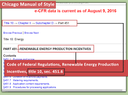 chicago manual of style endnotes how to cite the code of federal regulations 9 steps