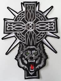 embroidered biker celtic cross wolf back jacket patch