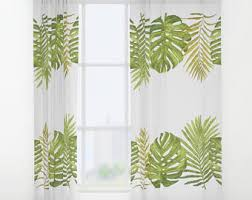 palm leaves curtain etsy