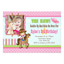 cowgirl birthday invitations u0026 announcements zazzle