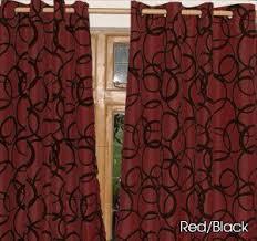 Burgundy Velvet Curtains Burgundy With Black Velvet Circles Eyelet Faux Silk Curtains
