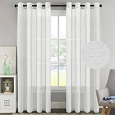 Linen Curtains With Grommets Amazon Com White Linen Sheer Curtain Panel 52