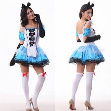 Fairy Tales Halloween Costumes Alice Wonderland Dress Fantasy Blue Maid Fairy
