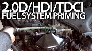 priming fuel system in volvo 2 0d ford 2 0tdci peugeot 2 0hdi