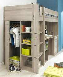 bed with desk underneath view in gallery organized shelf and a