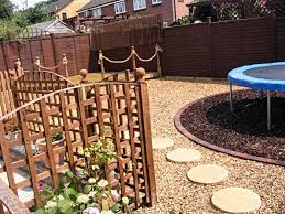 trampoline backyard landscaping