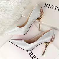 wedding shoes murah women wedding bridal pumps party high heels silver