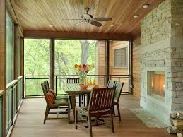 screen porch ideas porch contemporary with stone fireplace