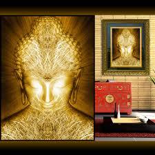 huge golden buddha wall art abstract home decor modern digital