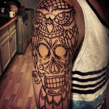 sugar skull red owl and rose tattoo designs photo 1 photo