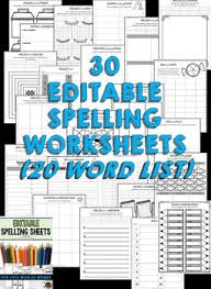 spelling worksheets and spelling activities for any 20 word list