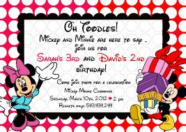 Mickey Mouse Invitation Cards Mickey And Minnie Birthday Invitations Plumegiant Com