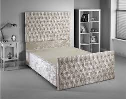 White Small Double Bed Frame by Luxan Pro Fra Crm Vlvt 2d 40 Beds
