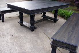 trestle dining table and matching benches ebony stained finish