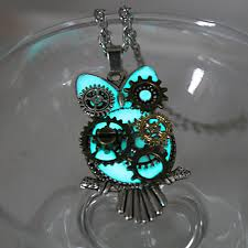 steampunk owl necklace images Steampunk mechanical owl glow in the dark necklace fanduco jpg