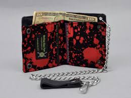 Halloween Material Fabric Vegan Chain Wallet Blood Splatter Black Canvas Red And Black