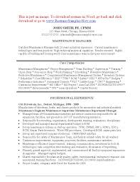 maintenance resume template maintenance manager resume templates electrical s sevte