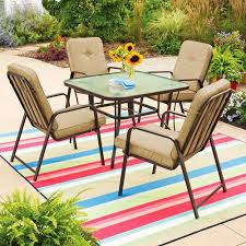 5 patio set mainstays lawson ridge 5 patio dining set seats 4